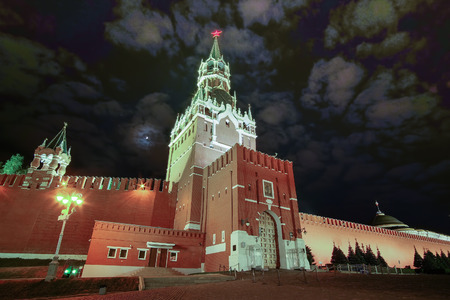 spasskaya: Moscow, Russia - May, 14, 2016: Spasskaya tower of Moscow Kremlin in a night, Moscow, Russia