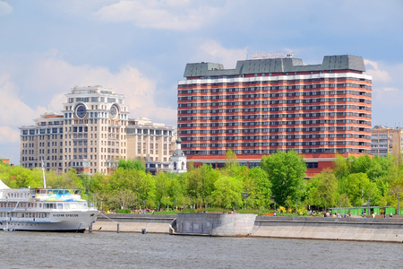 city park boat house: Moscow, Russia - May, 6, 2016: landscape with the image of Moscow river embankment in Moscow, Russia Editorial