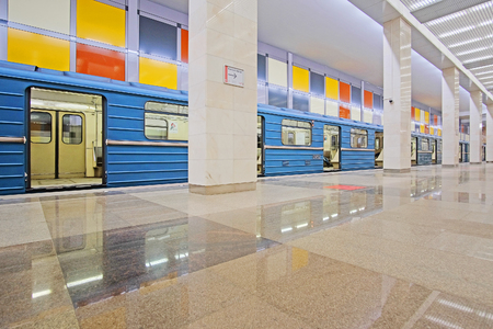 newest: Moscow, Russia - May, 6, 2016: Railway station Rumiantsevo in Moscow, Russia. It is one of the newest Moscow metro stations.