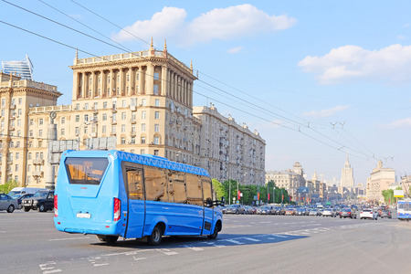 prospect: Moscow, Russia - May, 11, 2016:  bus drives down Kutuzov Prospect  in Moscow, Russia Editorial