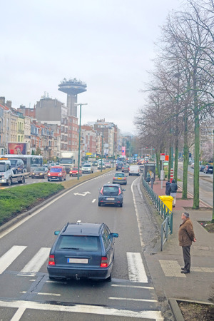 carriageway: Brussels, Belgium - February, 9, 2016: street traffic in Brussels, Belgium