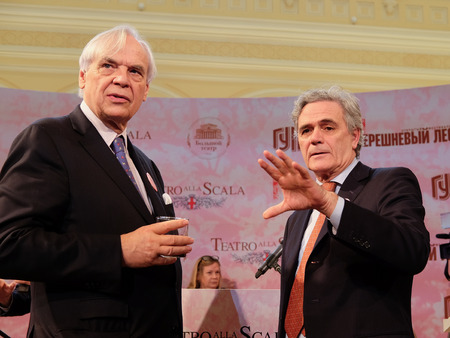 ambassador: Moscow, Russia - May, 23, 2016: ambassador of Italy in Russia Cesare Maria Ragaglini and  director of the La Scala Aleksander Pereira on the press conference devoted to tours of the La Scala theater in Moscow.