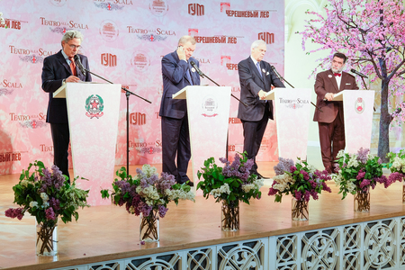 ambassador: Moscow, Russia - May, 23, 2016: ambassador of Italy in Russia Cesare Maria Ragaglini, businessman Mikhail Kusnirovich,  director of the La Scala Aleksander Pereira and Vladimir Urin, director of the Moscow Bolshoy Theatre on the press conference devoted t
