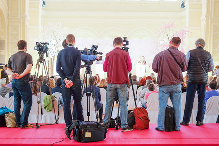 newsman: Moscow, Russia - May, 23, 2016: journalists on the press conference devoted to tours of the La Scala theater in Moscow. Editorial