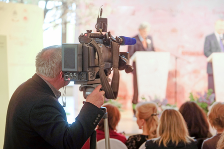scala: Moscow, Russia - May, 23, 2016: the press conference devoted to tours of the La Scala theater in Moscow. Editorial