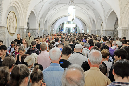 lock block: Moscow, Russia - June, 1, 2016: Jam in Moscow metro in a rush hour Editorial