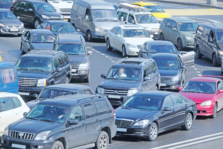 highway traffic: Moscow, Russia, May, 23, 2016: Cars stands in traffic jam in the center of Moscow, Russia