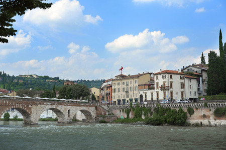 embankment: VERONA, ITALY - JULY, 2, 2016: Embankment of river Adige in Verina, Italy