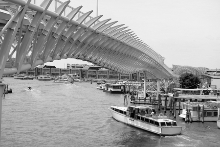 monorail: VENICE, ITALY - June, 21, 2016: Venice Monorail line wich connects Venice with the Marittima cruise terminals