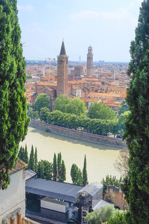 verona: VERONA, ITALY - JULY, 2, 2016: Panorama of Verona, Italy