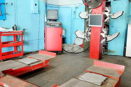 Interior of a car repair garade Stock Photo