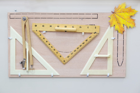 pedagogical: Board with equipment for mathematic lessons