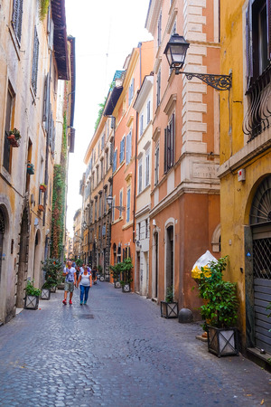 family units: ROME, ITALY -AUGUST, 7, 2016: the street in a center of Rome, Italy.