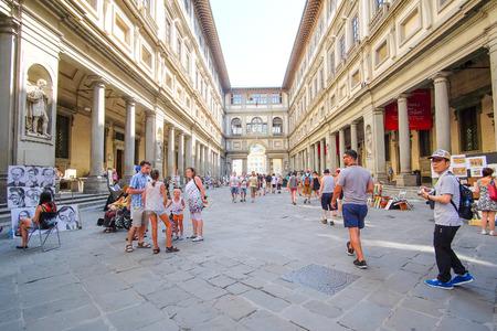 Florence, Italy, June, 25, 2016: Uffizi Gallery (Piazzale degli Uffizi) in Florence, Italy.
