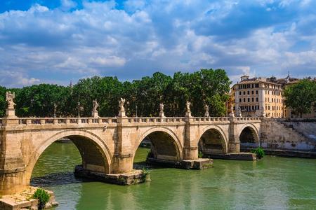 Roma, Italy - August, 7, 2016: Bridge Ponte, SantAngelo from Tiber in Roma, Italy Editorial