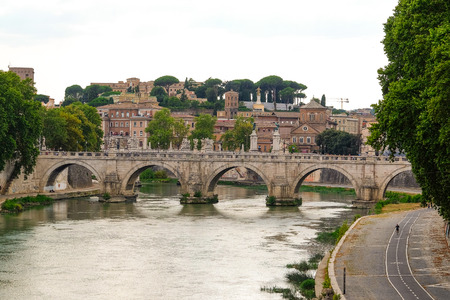 Roma: Roma, Italy - August, 7, 2016: Bridge from Tiber in Roma, Italy Editorial