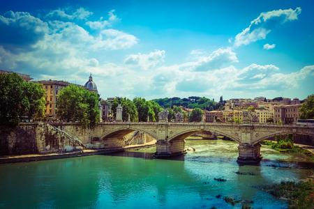 Roma: Roma, Italy - August, 7, 2016: Bridge Ponte, SantAngelo from Tiber in Roma, Italy Editorial
