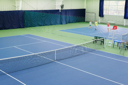 sport hall: Interior of a sport hall with tennis court