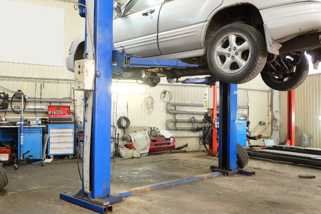 Interior of a car repair garage