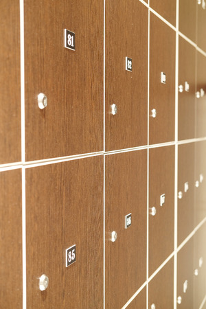 cloakroom: The image of lockers in a cloak-room