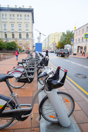conservatory: Moscow, Russia - September, 29, 2016: municipal bycicle parking near Moscow conservatory, Russia