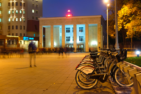 croud: Moscow, Russia - October, 6, 2016: municipal bycicle parking near metro station Sportivnaya in Moscow, Russia Editorial