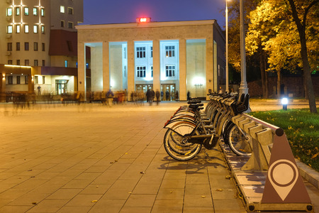 bycicle: municipal bycicle parking near metro station Sportivnaya in Moscow, Russia Editorial