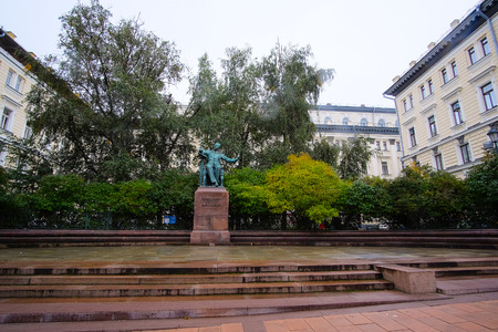 Moscow, Russia - September, 29, 2016: monument of Pyotr Ilyich Tchaikovsky, famous Russian composer, near Moscow conservatory, Russia