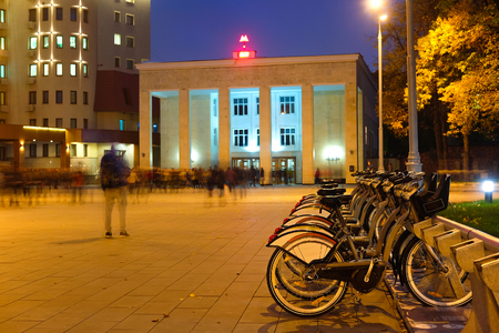 Moscow, Russia - October, 6, 2016: municipal bycicle parking near metro station Sportivnaya in Moscow, Russia Editorial