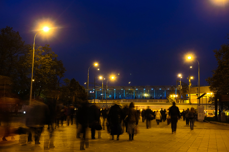 Moscow, Russia - October, 6, 2016: peak-hour croud near metro station Sportivnaya in Moscow, Russia