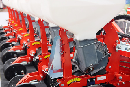agricultural implements: seeding-machine isolated under the white background Stock Photo