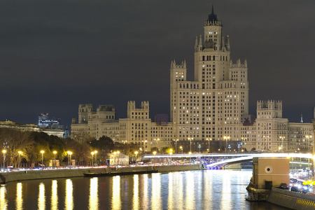 kotelnicheskaya embankment: Moscow, Russia - October, 16, 2016: high building on Kotelnicheskaya embankment in Moscow, Russia