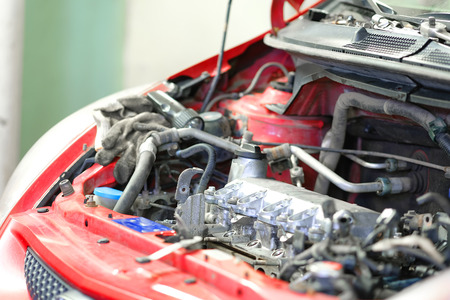 The image of a car engine compartment