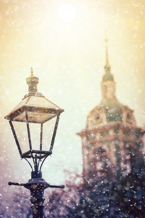 Veiw of a retro street lamp in a center of Moscow Stock Photo