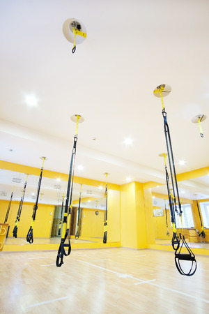 aerial ribbons in a modern fitness hall  Stock Photo