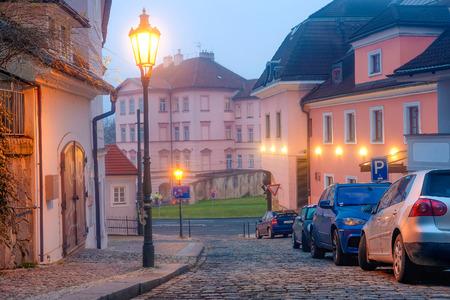 Prague, Czechia - November, 21, 2016: cars on a parking in the center of Prague, Czechia
