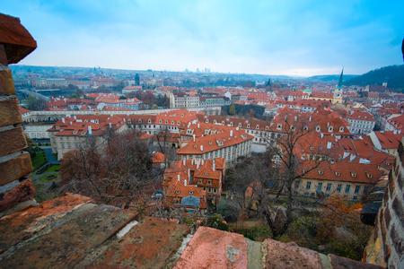 Prague, Czechia - November, 21, 2016: panorama of a historical part of Prague, Czechia Stock Photo