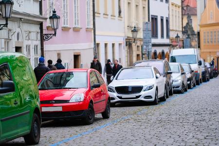 Prague, Czechia - November, 23, 2016: cars parking on a street in an Old Town of Prague, Czechia