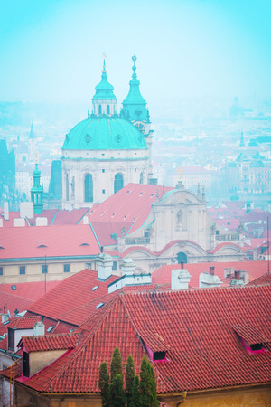 Prague, Czechia - November, 21, 2016: panorama of a historical part of Prague, Czechia Editorial