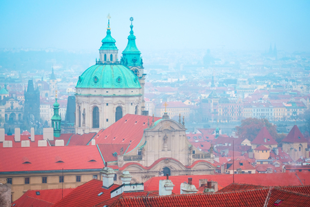 family unit: Prague, Czechia - November, 21, 2016: panorama of a historical part of Prague, Czechia Stock Photo