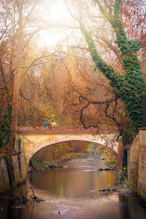 Prague, Czechia - November, 24, 2016: small bridge in Prague, Czechia.