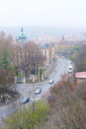 family unit: Prague, Czechia - November, 21, 2016: panorama of Old Prague , Czechia