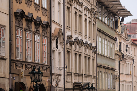 family units: Prague, Czechia - November, 21, 2016: facade of a building in Old Prague , Czechia Stock Photo