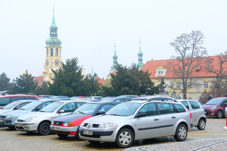 family units: Prague, Czechia - November, 21, 2016: cars parking on a street in the historical part of Prague, Czechia