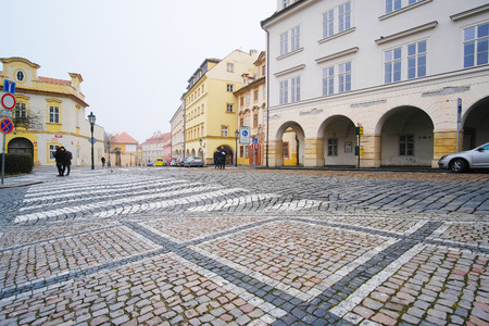Prague, Czechia - November, 21, 2016: street in the historical part of Prague, Czechia