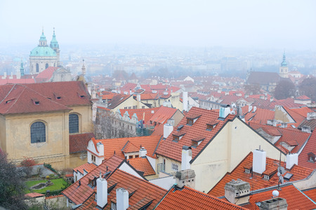 family units: Prague, Czechia - November, 21, 2016: panorama of a historical part of Prague, Czechia Editorial