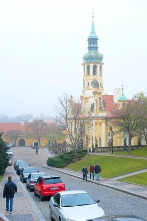 Prague, Czechia - November, 21, 2016: cars parking on a street in the historical part of Prague, Czechia