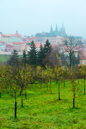 Prague, Czechia - November, 24, 2016: panorama of an old Prague with St. Vitus Cathedral and Prague Castle, Czechia