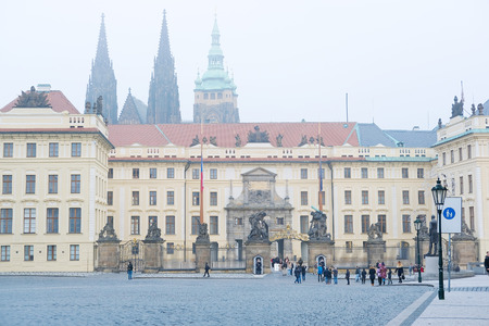 family unit: Prague, Czechia - November, 21, 2016: tourist group near Prague Castle in Prague, Czechia