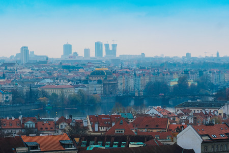 Prague, Czechia - November, 21, 2016: panorama of a historical part of Prague, Czechia Stock Photo